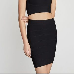 BCBG Black banded body con skirt - small